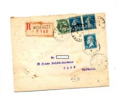 Lettre Recommandée Argences Sur Blanc Semeuse Pasteur - Postmark Collection (Covers)