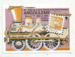 Cp, Bourses & Salons De Collections, 16,Angouléme ,1986 ,6 E Salon De La Carte Postale ,théme : Les Chemins De Fer - Borse E Saloni Del Collezionismo