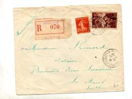Lettre Recommandée Paris IX Sur Mineur - Marcophilie (Lettres)