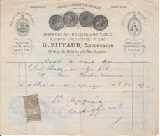 PARIS 1er-  G. RIFFAUD - 54 Quai Des Orfèvres -Orfèvrerie ,Fabrique De Médailles- Timbre Quittances - 1900 – 1949