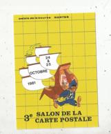 Cp, Bourses & Salons De Collections, 44, NANTES ,3 E Salon De La Carte Postale ,n° 1659/3700 EX. - Bolsas Y Salón Para Coleccionistas