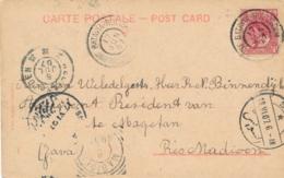 Nederlands Indië - 1907 - 5 Cent Bontkraag Op Ansicht Perim Island Van GR Postagent Batavia-Rotterdam Naar Madioen - Netherlands Indies