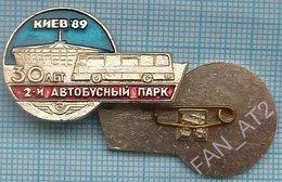 USSR /  Badge / Soviet Union / UKRAINE. 2nd Bus Autobus Depot Is 30 Years Old. Transport. Architecture. Kiev 1989 - Pins