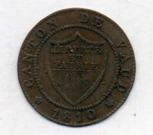 Suisse Canton VAUD, 1/2 Batzen, Billon, 1810, KM #6 - Suiza