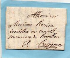 Roussillon-St MICHEL (de Cuxa),L.A.C. Du Prieur De L'Abbaye Le 20/7/1758. à ROVIRA Au Conseil Souverain.à PERPIGNAN. - Poststempel (Briefe)