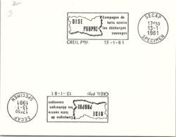 SPECIMEN SECAP - OISE PROPRE - CAMPAGNE LUTTE CONTRE LES DECHARGES SAUVAGES - CREIL P Pal 13.1.81    /  6 - 1 - Poststempel (Briefe)