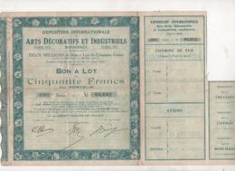 BON A LOT DE CINQUANTE FRANCS - EXPOSITION INTERNATIONALE DES ARTS DECORATIFS ET INDUSTRIELS MODERNES PARIS 1925 - Tourisme