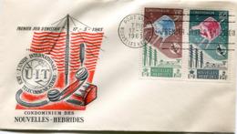 NOUVELLES-HEBRIDES ENVELOPPE 1er JOUR DES N°211/212 CENTENAIRE DE L'U. I. T. OBLITERATION PORT-VILA 17-5-1965 - FDC