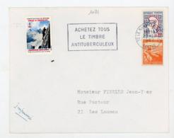 """VIGNETTE """"CONTRE LA TUBERCULOSE 1967"""" SUR LETTRE AVEC N° Yt 1282+736 + FLAMME """"ACHETEZ TOUS LE TIMBRE ANTITUBERCULEUX"""" - Antituberculeux"""