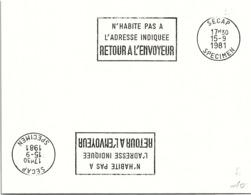 SPECIMEN SECAP - N'HABITE PAS A L'ADRESSE INDIQUEE RETOUR A L'ENVOYEUR - 15.9.1981   / 11  - 1 - Storia Postale