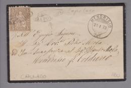 Heimat CH TI Capolago 1873-01-21 Strahlenstempel Auf Trauerbrief 5 Rp. Sitzende H. - Lettres & Documents