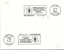 SPECIMEN SECAP - THEMAFRANCE PREMIERE EXPOSITION NATIONALE THEMATIQUE CREIL 18-26 OCT. 1980 - CREIL 10.7.1980 / 14- 1 - Marcofilie (Brieven)