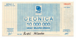 1993 YUGOSLAVIA, FMP TRADE, SHARE CERTIFICATE , 10 MILLION DINAR - Invoices & Commercial Documents