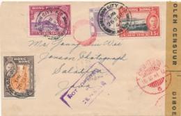 HongKong - Nederlands Indië - 1941 - 4 Stamps On Cover - Not Opened By Censor & Censored Censuur/6 Naar Salatiga - Nederlands-Indië
