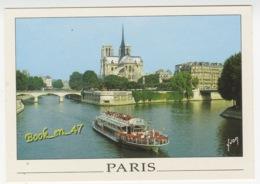 {80931} 75 Paris , Notre Dame Et La Seine ; Pont , Bateau Mouche - Notre Dame De Paris