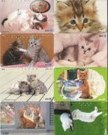 LOTE DE 8 TARJETAS TELEFONICAS DE JAPON. (GATOS - CHATS - CATS) (200) - Gatos