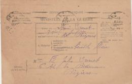 Ministère De La Guerre Bulletin De Santé - Hôpital Bénévole ILLAIRE BEZIERS Hérault Pour EV - Marcophilie (Lettres)