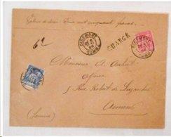 """Enveloppe OISEMONT Pour AMIENS - 1899 - """" Chargé """" - Maître Pinguerre / Bucquet - Cachets De Cire - Marcophilie (Lettres)"""
