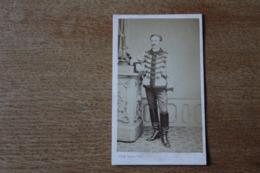 Cdv Militaire Second Empire Napoléon III   Officier De Hussard Cavalerie  Dédicace  Vineau - Guerra, Militares