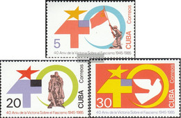 Cuba 2950-2952 (complete Issue) Unmounted Mint / Never Hinged 1985 Anniversary End Of 2. World - Cuba