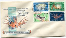 NOUVELLES-HEBRIDES ENVELOPPE 1er JOUR DES N°215/218 SERIE COURANTE OBLITERATION PORT- VILA 16-8-1965 - FDC