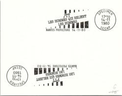SPECIMEN SECAP - PTT DES HOMMES QUI RELIENT LES HOMMES - NANTES PREFECTURE  14.11.80   / 22 - 1 - Marcophilie (Lettres)