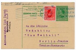 1928 YUGOSLAVIA, CROATIA, ZAGREB TO BERLIN, GERMANY, STATIONERY CARD, USED - Entiers Postaux