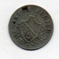 Suisse Canton ZURICH, 2 Rappen, Billon, 1842, KM #195 - Switzerland
