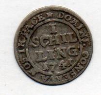 Suisse Canton ZURICH, 1 Schilling, Billon, 1741, KM #148 - Switzerland