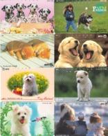 LOTE DE 8 TARJETAS TELEFONICAS DE JAPON. (PERROS - DOGS - CHIENS) (185) - Perros