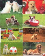LOTE DE 8 TARJETAS TELEFONICAS DE JAPON. (PERROS - DOGS - CHIENS) (188) - Perros