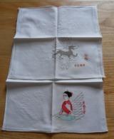Série De 6 Serviettes ( Ou Mouchoirs ) Brodés  Et Ourlés Machine Coton Blanc - Mouchoirs