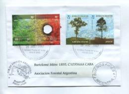 """ARGENTINA ENVELOPE CIRCULATED TO """"ASOCIACIÓN FORESTAL ARGENTINA"""" 2007 WITH SE-TENANT TIMBRES FDC -LILHU - Protección Del Medio Ambiente Y Del Clima"""
