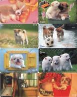 LOTE DE 8 TARJETAS TELEFONICAS DE JAPON. (PERROS - DOGS - CHIENS) (191) - Perros