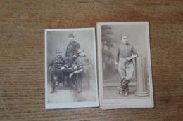 2 Cdv Militaires  Second Empire Napoléon III Guerre De 1870   Cavalier Et Officiers De La Garde - Guerre, Militaire