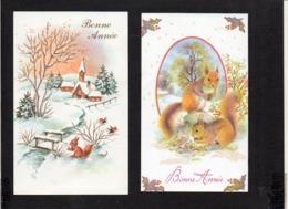 Nouvel An,Voeux,Bonne Année / Maxi Mignonnette  ( Lot De 2 ) / écureuil (éditions : Sans ) - New Year