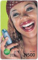 Nigeria - Glo - Woman With Mobile  Phone, Prepaid 500₦, Exp.09.09.2007, Used - Nigeria