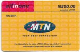 Nigeria - MTN - All In One, Pay As You Go (Big Logo), 500₦, Used - Nigeria