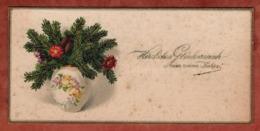 Visitenkarte, Praegeinschrift, Vase Mit Tannenzweigen, Glueckwunsch Zum Neuen Jahr (81524) - Visitenkarten