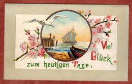 Karte, Glueck Zum Heutigen Tag, Moewe, Schiffe, Bluetenzweig, Wollapplikation (81525) - Mitteilung