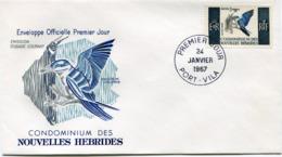 NOUVELLES-HEBRIDES ENVELOPPE 1er JOUR DU N°255 SERIE COURANTE OBLITERATION PORT-VILA 24 JANVIER 1967 - FDC
