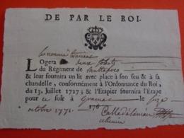 DE PAR LE ROI ** Billet De Logement Pour Soldats Du Régiment De Buttafoco à Gramat (pr. Figeac) 1771-Régim. Île De Corse - Documents Historiques