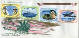NOUVELLES-HEBRIDES ENVELOPPE 1er JOUR DES N°257/260 25e ANNIVERSAIRE DES BATAILLES.......OBLITERATION PORT-VILA 26-9-67 - FDC