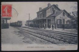 CPA - AULNAY SOUS BOIS - LA GARE - ARRIVE D'UN TRAIN - ANIMEE - DATEE 1919 - Aulnay Sous Bois