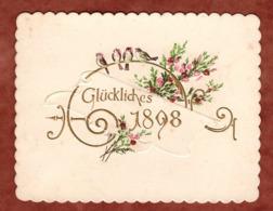 Visitenkarte, Praegekarte, Glueckliches 1898, Bluetenzweige Und Voegel (81537) - Visitenkarten