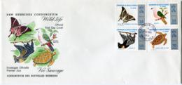 NOUVELLES-HEBRIDES ENVELOPPE 1er JOUR DES N°378/381 PROTECTION DE LA VIE SAUVAGE OBLITERATION PORT-VILA 11 FEVRIER 74 - FDC
