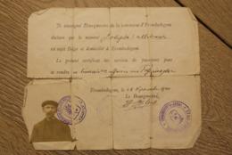 Aalst Erembodegem 1914 Laissez Passer Pas Joseph Callebaut  Zeldzaam Document - Historische Dokumente