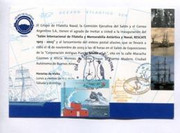 GRUPO DE FILATELIA NAVAL, INVITACIÓN INAUGURACIÓN - TARJETA POSTAL FDC 2007 LA PLATA -LILHU - Filatelia Polar