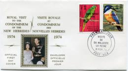 NOUVELLES-HEBRIDES ENVELOPPE 1er JOUR DES N°386/387 VISITE ROYALE OBLITERATION PORT- VILA 11 FEV 74 - FDC