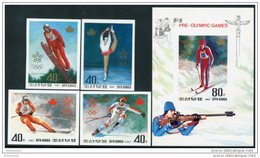 Korea 1987, SC #2693-97, Imperf 4V+S/S, Winter Olympic Games - Winter 1988: Calgary